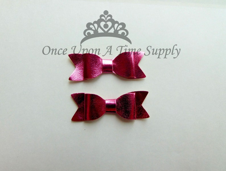 Shiny Hot Pink Faux Leather Bows  2 Inch Size DIY Headband image 0