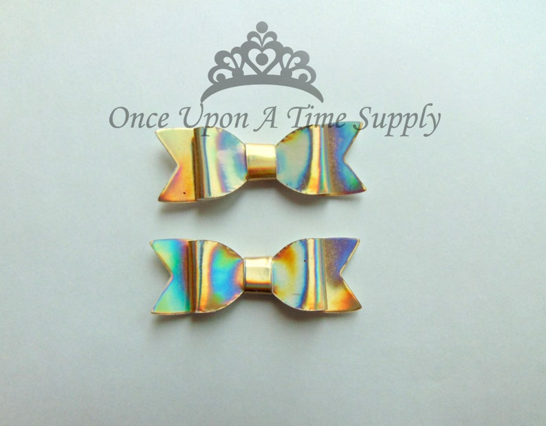 Shiny Iridescent Gold Faux Leather Bows  2 Inch Size DIY image 0