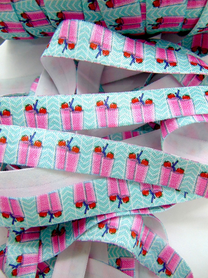 58 inch FOE Adult Beverage Flat Sewing Supplies Strawberry Drinks Print Fold Over Elastic DIY Hair Tie Making Soft Printed Elastics