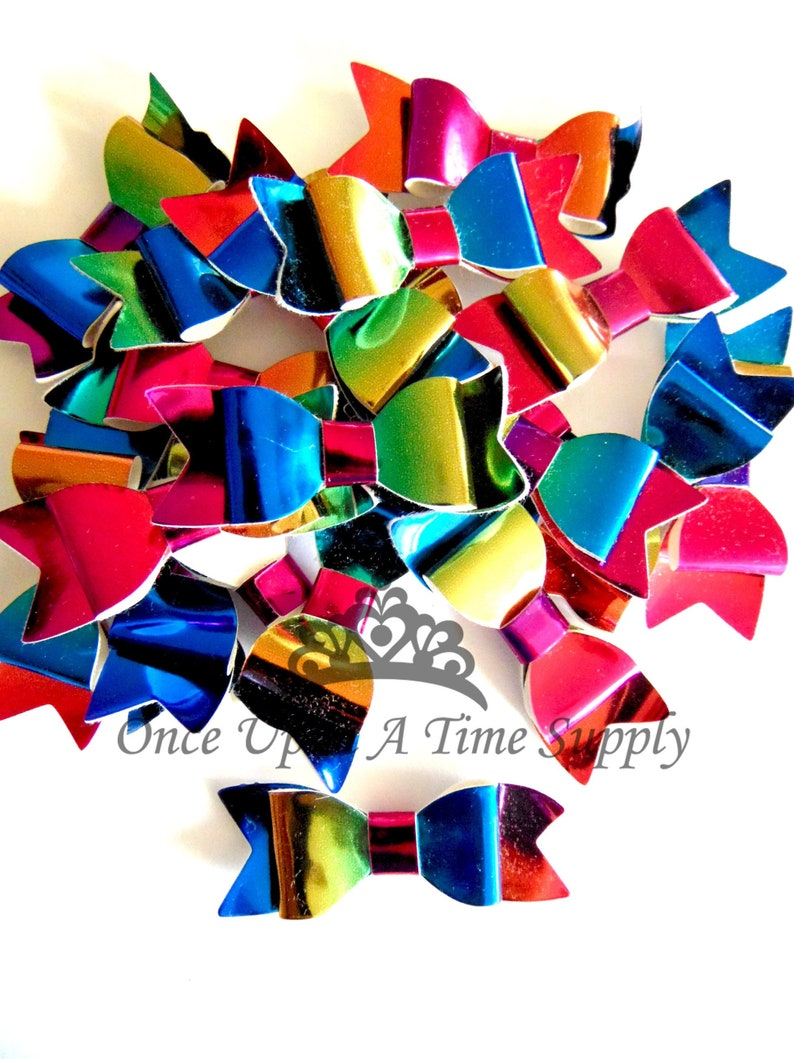 Colorful Rainbow Faux Leather Bows  2 Inch Size DIY Headband image 0