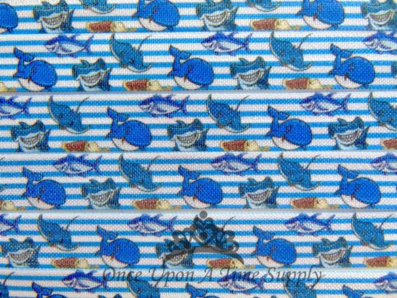 Ocean Soft Printed Elastics Beach Flat Sewing Supplies DIY Hair Tie Making Shark Print Fold Over Elastic Under The Sea 58 inch FOE