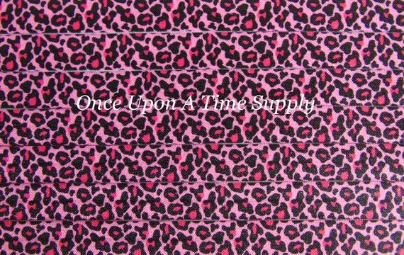 4 yards Pink White Leopard Cheetah ANIMAL PRINT foldover elastic FOE Baby