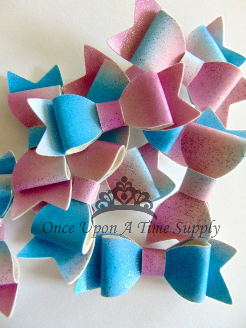 Cool Glittery Colorful Faux Leather Bows  2 Inch Size DIY image 0
