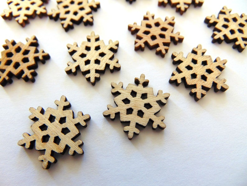 Snowflake Buttons Grab Bag Holiday Flatback Wooden Buttons Wooden Buttons Christmas Craft Embellishment Supply Unique Sewing Fasteners