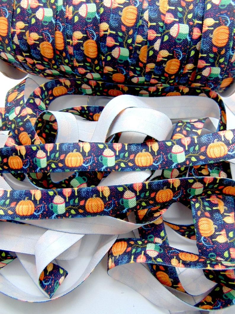 58 inch FOE Soft Printed Elastics DIY Hair Tie Making Autumn Halloween Sewing Supplies Pumpkin Print Fold Over Elastic Fall Pattern