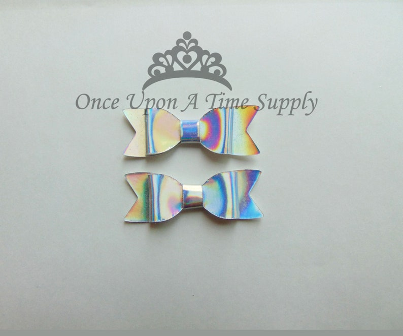 Shiny Iridescent Silver Faux Leather Bows  2 Inch Size DIY image 0