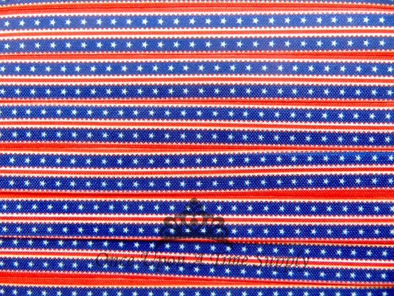 4th of July Printed Elastic Fourth Stars Stripes Elastic for Hair Ties Patriotic Star Print Fold Over Elastic 58 FOE DIY Hair Tie FOE