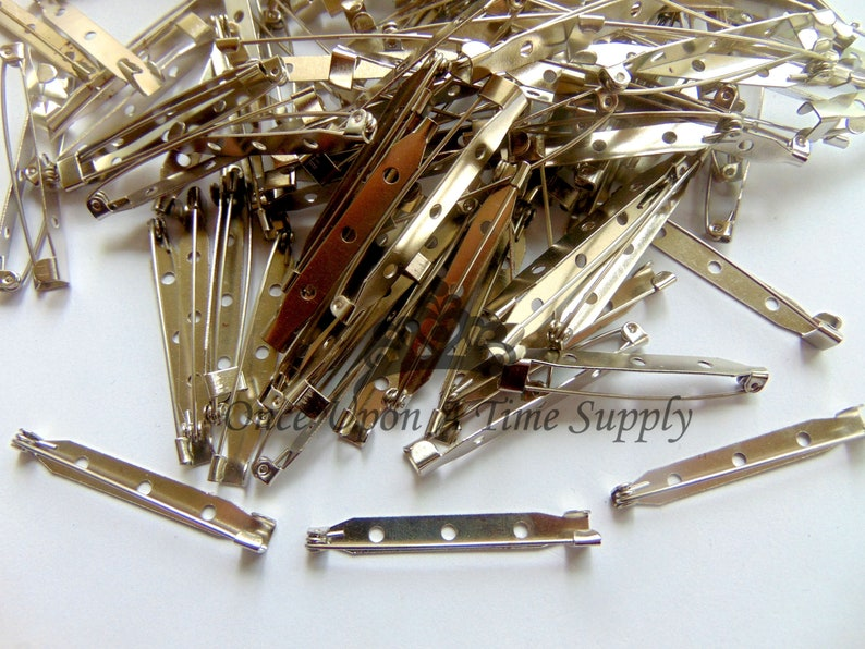 Small Clip Supply Choice of Amount Silver Metal Flat Brooch Back Bar Pins Size 45mm 1.75 Inch DIY Supplies Hardware Craft Supply