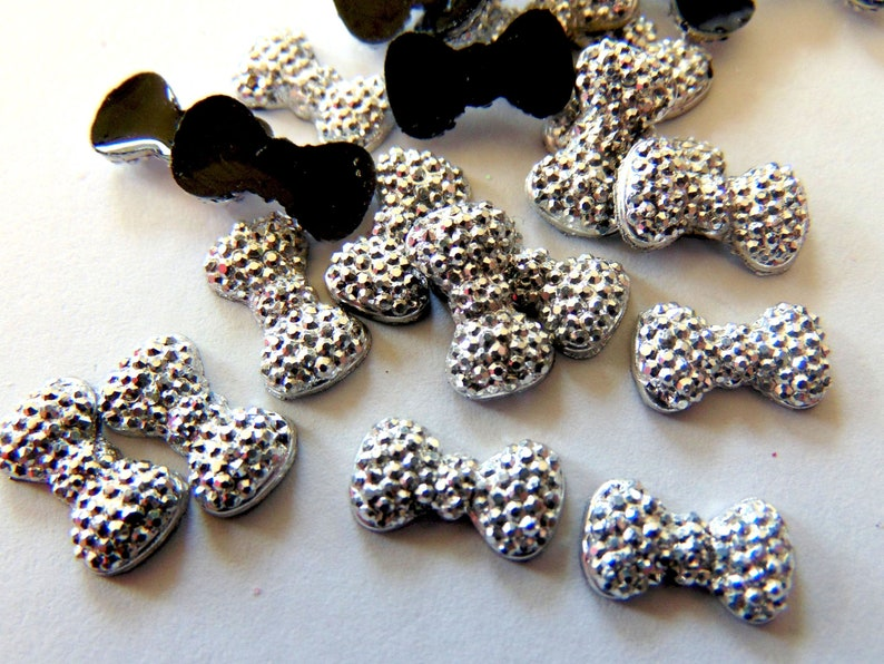 Sparkly Silver Bow Resin Charms  Gray Grey 12mm Flatback image 0