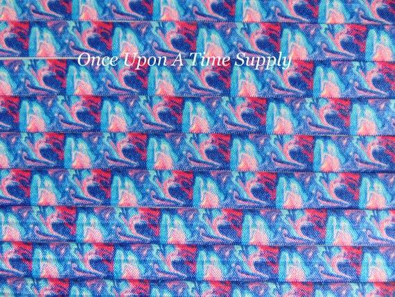 "10 yards Blue black /& pink Galaxy Nebula printed 5//8/"" fold over elastic FOE"