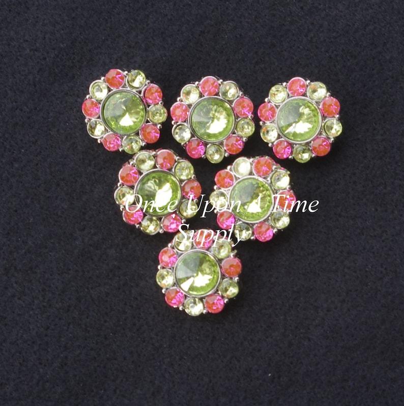Plastic Rhinestone Gems Shank Back Buttons Silver Settings Pink and Green Rhinestone Charm Rhinestone Buttons 25mm Acrylic Charms