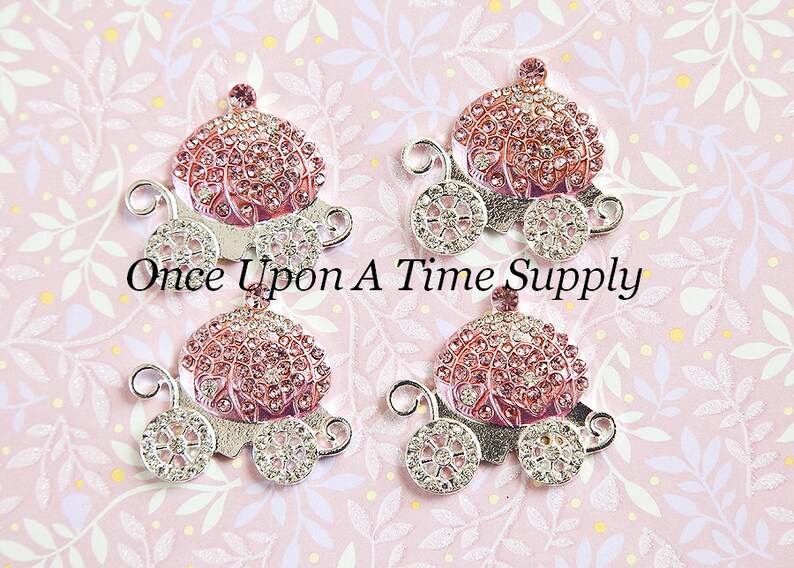 Metal Craft Embellishment Crafting Supply Princess Charms Princess Carriage Charms Boutique Supplies Silver Setting Pink Rhinestones