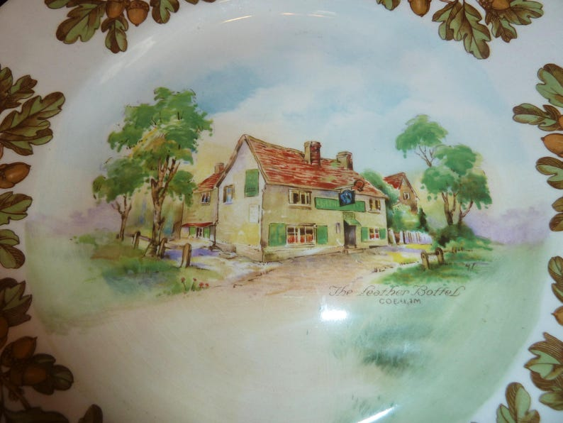 TWO Vintage Royal Doulton Old English Inns Dinner Plates