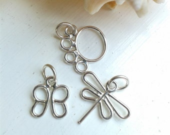 Sterling Silver Dragonfly, Butterfly and Paw Print Charm Handmade