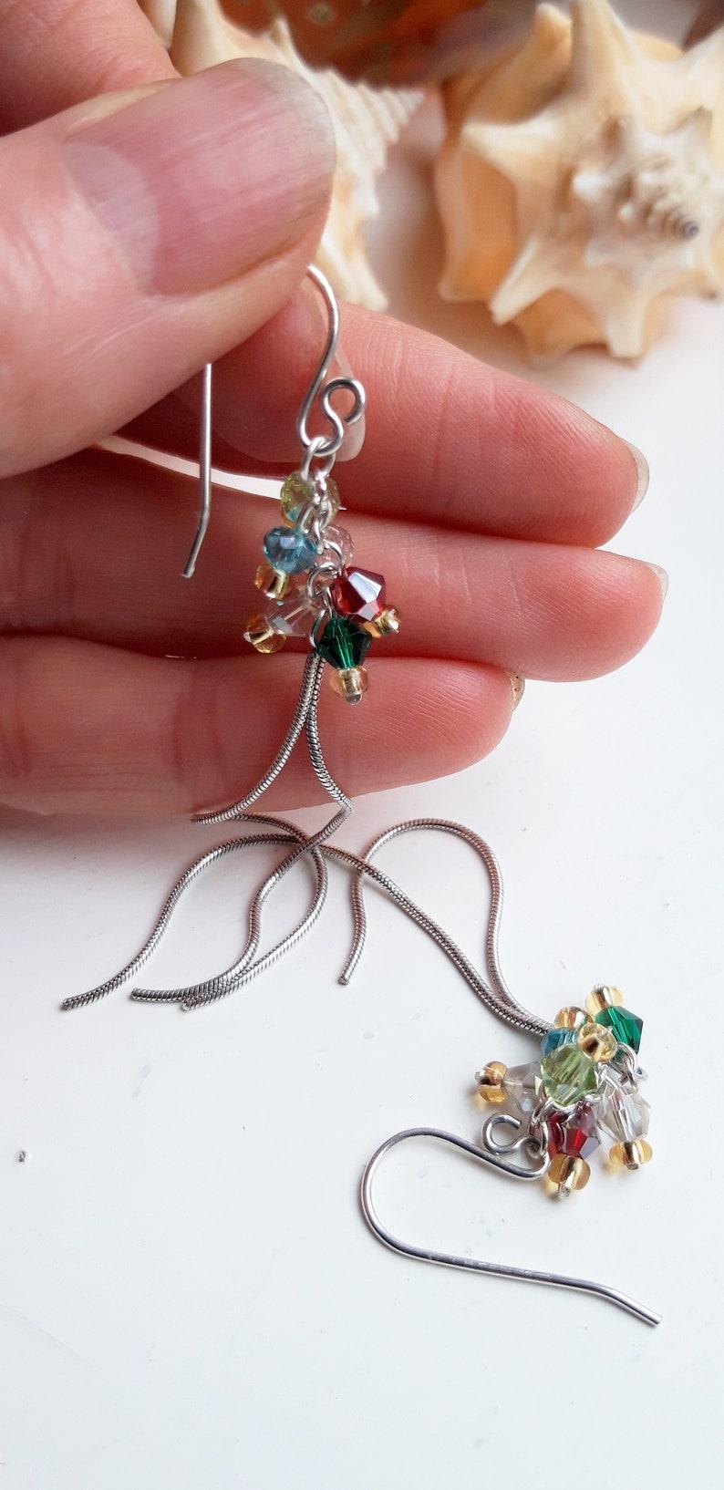 Crystal Rainbow Long Chain Drop Earrings