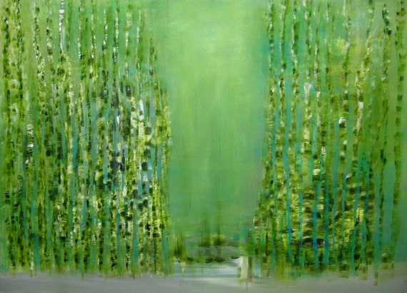SPRING ABSTRACT Original 12 x 12 canvas renewal of fertility in Spring blue and green Earthly productivity Free Shipping