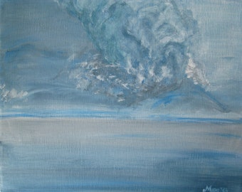 """Ash Cloud Painting Iceland Volcano Eruption Painting Blue Grey Painting Abstract Landscape Painting Acrylic Painting On Canvas 9x12"""""""