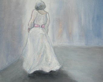 "Bride Dress Painting Wedding Dress 20x20 Painting Woman Painting Bride Painting Dancer Painting 20x20"" Figurative Original Painting"