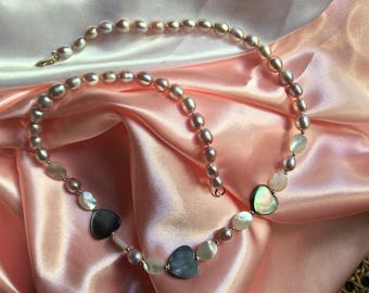 Necklace romantic Pearl Grey hearts and freshwater pearls
