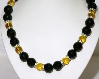 Choker necklace citrine onyx swarovski 925 Silver Clasp