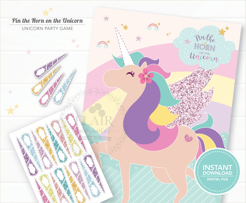 graphic about Pin the Horn on the Unicorn Printable titled Unicorn Occasion Video games Pin The Horn Upon The Unicorn Unicorn Get together Give  Immediate Obtain Unicorn Printable
