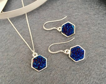 Electric Blue Hexagon Druzy Quartz Pendant Necklace and Earrings Set Geometric Design - Semi Precious handmade jewellery