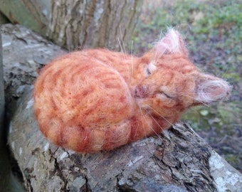 RESERVED Needle felted ginger tabby cat OOAK