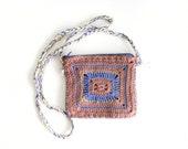 Crochet Crossbody Purse, Beige Messenger Bag, Brown Purple Tribal Zipper Handbag, Festival Crochet Bag, Small Boho Shoulder Purse