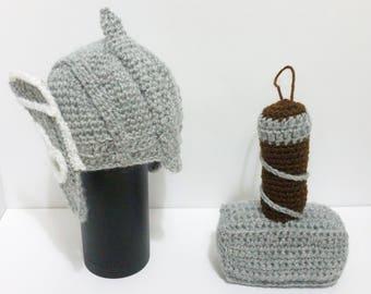 mjolnir rattle- thor helmet costume - Thor rattle - viking baby- thor costume - mjolnir - thor hammer - baby shower - thor costume