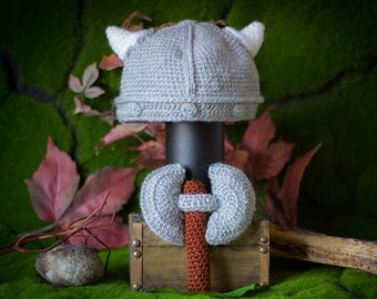 Baby Viking hat, Axe rattle, Ideal for baby Vikings, Children of Berserker, Followers of Odin, Set for photographic