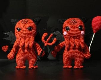Satan Cthulhu, demon amigurumi handmade, baphomet wooldoll