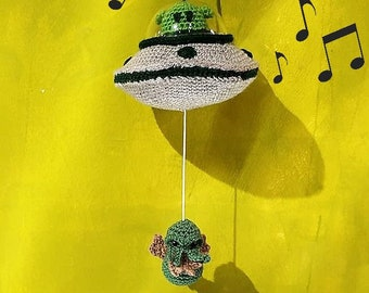 Alien Mobile baby, Area 51 UFO with music for cradle , conspiracy mobil cradle ufo , musical toy , cthulhu doll, nursery decor,