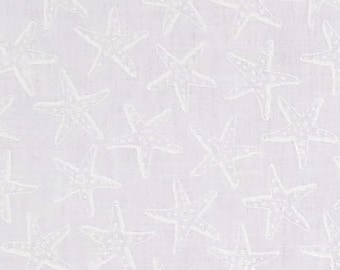 Starfish White on White; Hue C2354; Third Yard, Half Yard, or By The Yard; Timeless Treasures; White