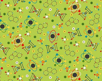 Science fabric etsy sale science fabric 21533 74 you choose size little genius northcott physics chemistry dna teacher fabric urtaz Images