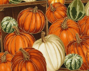 CLEARANCE Pumpkins & Gourds Fabric; CM5206; By the Yard; Timeless Treasures; Autumn Bounty; Fall Fabric; Thanksgiving
