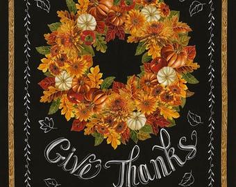 "Give Thanks Chalkboard Harvest Wreath Fabric 23"" PANEL; CM5204; Timeless Treasures; Autumn Bounty; Fall Fabric; Metallic Fabric"