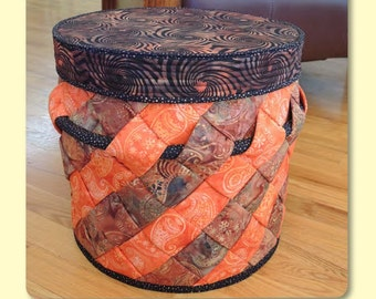 SALE Slanted Storage Pattern by Aunties Two Patterns; AT296; Fabric Basket Pattern; Fabric Storage Basket; Quilting, Sewing