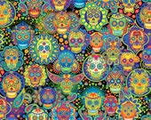 Bright Sugar Skulls Cotton Fabric C7378 Timeless Treasures Novelty-Adult Day of the Dead