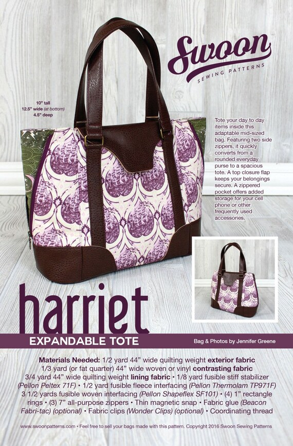 CLEARANCE Harriet Expandable Tote Bag Pattern by Swoon Sewing ...