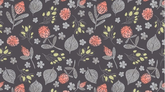 FOUST TEXTILES DEAR STELLA YELLOW AND WHITE FLOWERS ON CORAL COTTON FABRIC BTY