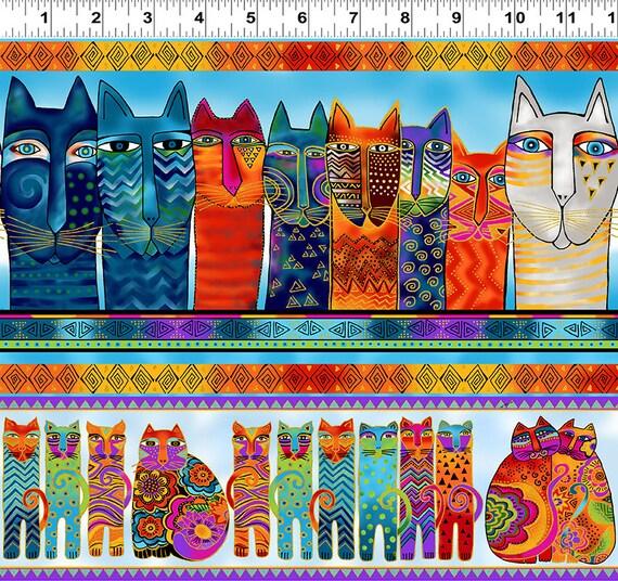 Feline Frolic Cats Gold Accent Cotton Quilt Fabric Laurel Burch Clothworks