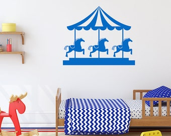 Wall Decal Custom Vinyl Art Stickers Carousel Unicorn