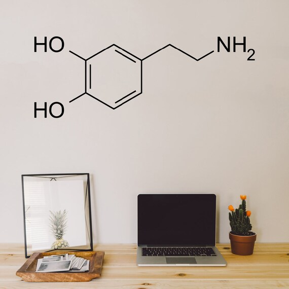 Dopamine Molecule, Wall Decal, Wall Art, Molecule Decal, Wall Sticker,  Molecule Sticker, Dopamine Decal, Dopamine Sticker, Science Decal