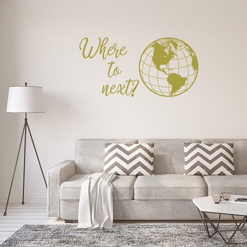 where to next wall decal wanderlust travel quote wall | etsy