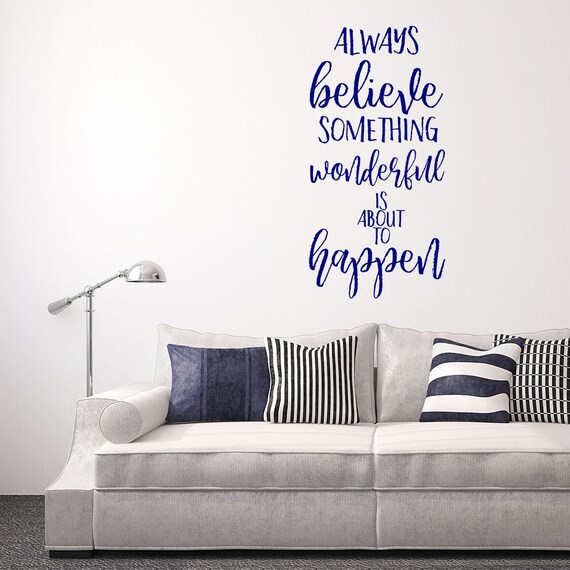 Hope Imagine Believe Art Sticker Lounge Room Quote Decal Mural Stencil Transfer