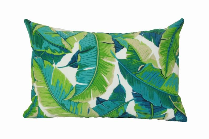 Banana leaf lumbar pillow cover 12x18 12x20 13x20 Tropical image 0