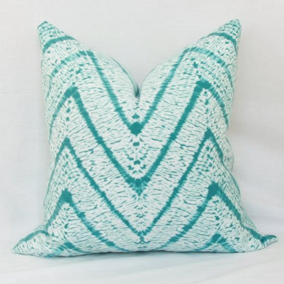 Turquoise White Batik Chevron Indoor Outdoor Throw Pillow Etsy
