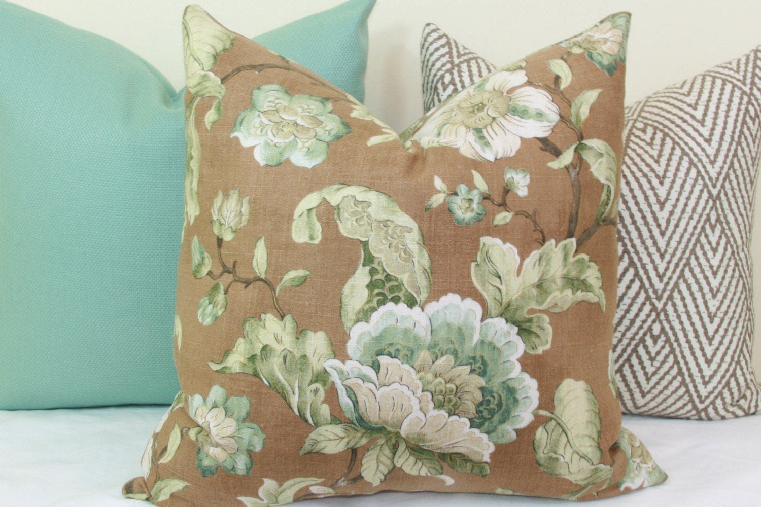 Teal And Brown Floral Decorative Throw Pillow Cover 18x18