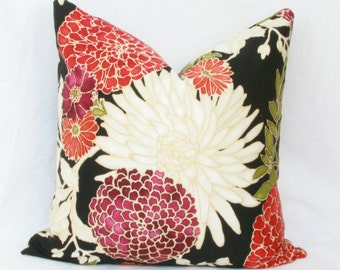 "Orange & plum floral decorative throw pillow cover. 18"" x 18"". 20"" x 20"". 22"" x 22"". 24"" x 24"". 26"" x 26"". lumbar sizes. Accent pillow."