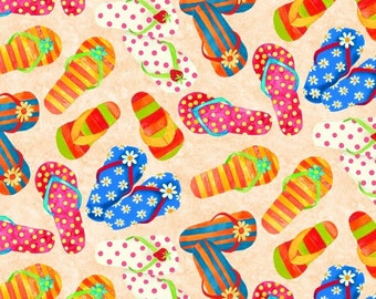 a479f4d38aa3 Flip Flops - Sand Multi B9023-41 by Blank Quilting Cotton Fabric Yardage